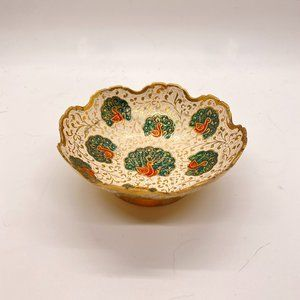 Vintage Gold Peacock Ring Small Scalloped Dish